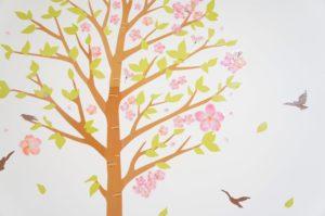 桜の咲いた教室壁紙